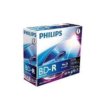 DVD BD-R 25GB 6X BLUE RAY PACK 5 UN - PHILIPS